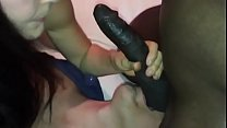 Horn licking balls while wife takes care of cock