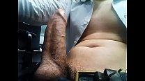 Huge cock cumming in the office