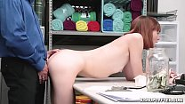 Redhead Alex Nova getting banged hard from behind doggystyle over the desk