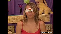 Blindfolded teen beauty Sue loves to play games li Thumbnail
