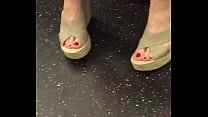 Feet on train
