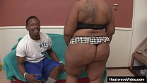 A horny chubby black girl with a big and beautiful body gets licked and fucked