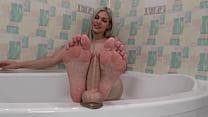 The blonde arranged a hot footjob