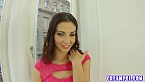 Threesome action for brunette before creampie play