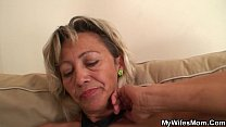 Old mother-inlaw spreads legs for him