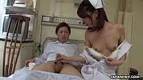 Japanese nurse, Reina Wamatsu rubs dick, uncens...