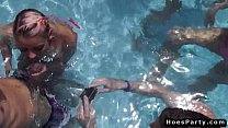 Teens at pool orgy party outdoors صورة