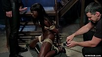 Ebony on Sybian made to suck huge dick
