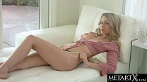 Cute blonde Riley Anne makes her tits bounce as she masturbates