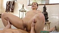 Erotic goddess Adriana Maya ball licking after nuru massage