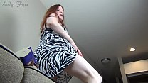 Lady Fyre perfect legs, ass and Feet in Purple Wedges thumbnail