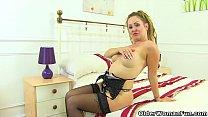 British milf Classy Filth loves dildoing in lingerie