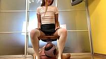 Toilet Slave Drinks All Piss Of Dominant Petite Girl Kira - Piss Drinking Femdom