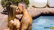 DADDY4K. Fragile belle and BFs muscular dad have an affair by the pool