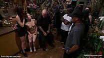 Slave gets shoes cummed in public