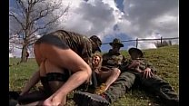 Girl gangbanged in grass by military men Thumbnail