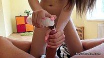 Brunette teen takes dick in her ass POV
