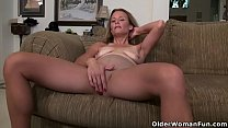 American milf Jayden Matthews dildos her mature pussy Image