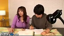 Japanese home teacher in stockings provokes stu...