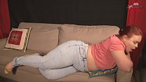 Redhead in jeans farting thumbnail