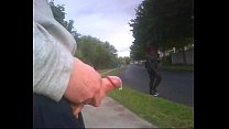 Pajillero jerks her off in the street until she cums.