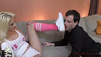 Teen Brat Aubrey Gold Makes Her Neighbor into her Foot Slave preview image