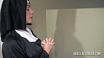 Sexy nun Ariella Ferrera sucking and swallowing cum pornhub video