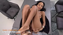 Office fantasy ebony Romy Indy pleasures you with her tight pussy