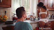 MOM Sexy ebony MILF Kiki Minaj deepthroats and fucks in kitchen thumbnail