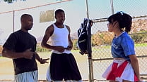 Two basketball players bribed by hot cheerleader with pussy