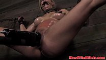 Suspended spreadeagle and gagged slut