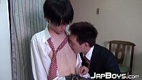 Japanese twink rides cock raw after receiving wet blowjob