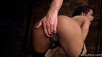 Ebony slave ass plugged and banged