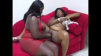 Young big booty sluts Chyna Whyte and Lady Carmela have hardcore toy fuck session on the sofa