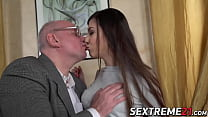 Young babe fucked and facialized by much older dude image