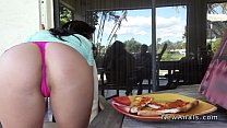Perfect booty girlfriend anal banged outdoor preview image