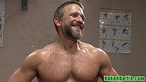 Suspended bondage jock restrained for anal sex