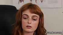 Nasty doll gets jizz load on her face gulping all the sperm