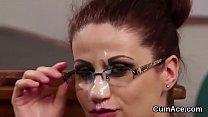 Unusual looker gets jizz shot on her face sucking all the jizm pornhub video