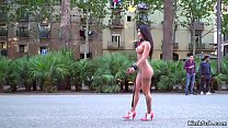 Curvy petite Euro babe on the streets