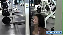 Sexy brunette teen amateur Lana show her natural big breasts while working out - 69VClub.Com