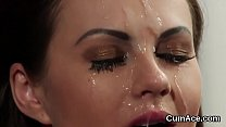 Naughty peach gets cumshot on her face swallowing all the load