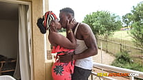 African Wife Banging Husband's Friend on the Couch