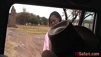 Teenage ebony from Africa sucks white cock and gets fucked on Safari-edit-ass-2