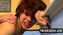 Teen twink gets fucked bareback and sucks cock