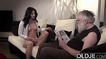 Old Young Porn Sexy Teen Fucked by old man on the couch she rides his cock Image