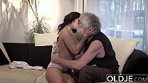 Old Young Porn Sexy Teen Fucked by old man on the couch she rides his cock preview image