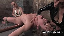 Bdsm brunette babe waxed and tortured with electricity in femdom scene