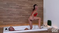12066 Hot-tempered Latina Julia Roca pampers him with sexy feet from head to cock preview