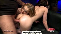 Blonde and brunette babes Sara and Annie gets fucked and jizzed at the same time preview image
